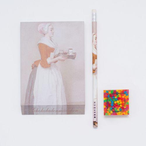 Geschenkset: Notizblock, Kunstdruck-Bleistift und Radiergummi