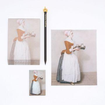 Geschenkset: Notizblock, Bleistift mit Krone, Brillentuch und Magnet