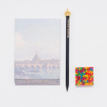 Geschenkset: Notizblock, Bleistift mit Krone und Radiergummi